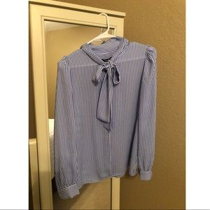 Blue Stripped Button Up Blouse